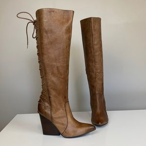 Isola Leather Tall Lace Up Wedge Boots Size 6.5